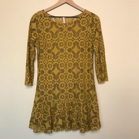 Free People Dresses & Skirts - Free People Mustard Yellow Lace Dress